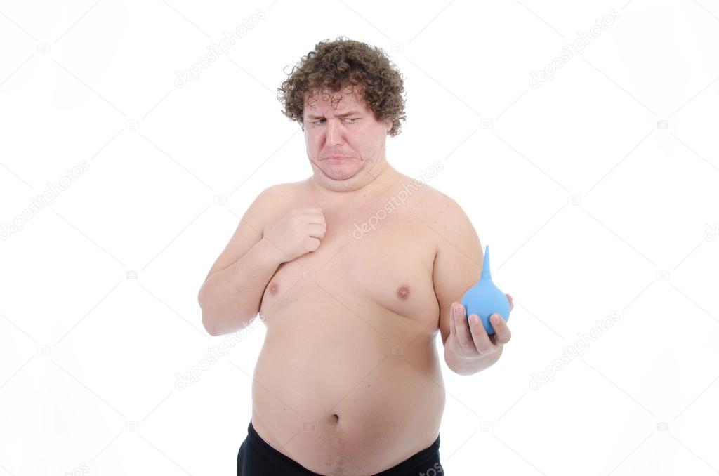 Over weight man naked